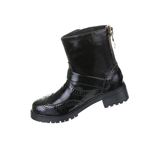 Damen Schuhe Gothic Stiefelette Boots Punk Stiefel mit Nieten Nr 19 Schwarz