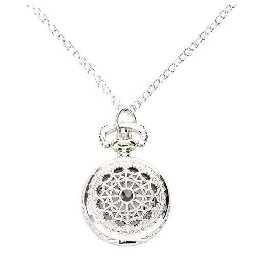 SODIAL –Orologio al quarzounisex da taschino con collana lega d'argento decorato