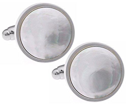 Cufflinks Direct Silber Perlmutt Muschel Mann Hochzeitsgeschenk Manschettenknöpfe (Manschettenknöpfe mit Geschenktüte)