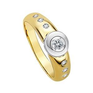 Diamond Line Damen – Ring 585er Gold 7 Diamanten ca. 0,25 ct, gelbgold