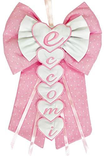 Fiocco nascita/coccarda fiocco eccomi ricamato rosa lavorato del tutto a mano