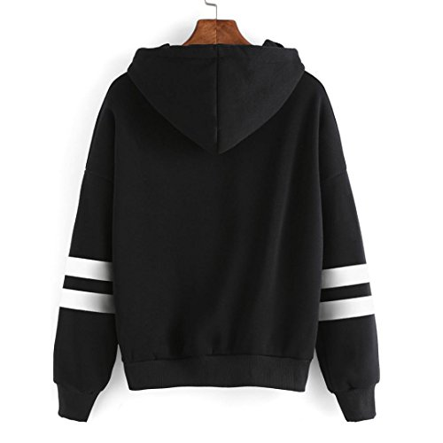 BZLine Femmes Coton Mélangé Sweat-Shirt à Capuche Striped Manche Longue Pull-over au Lacet Motif 'Just Kiss Me' Imprimé Noir
