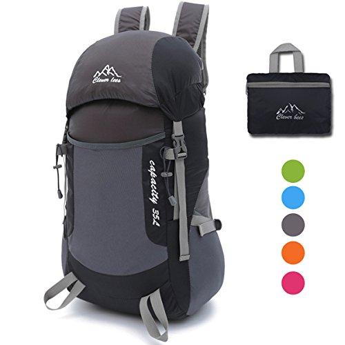 35L Ultraleicht Faltbare Wanderrucksäcke Rucksäcke, NATUCE Multi-Funktionale Stopfbare Wasserdichte Casual Camping Tagesrucksack für Outdoor-Sport Klettern Bergsteiger - Schwarz