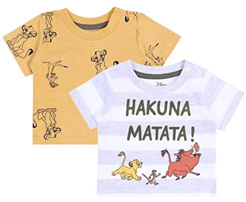 2X Grau - gelbes T-Shirt, König der Löwen Disney T-Shirt 18-24 m 92 cm (König Der Löwen T Shirt Kinder)