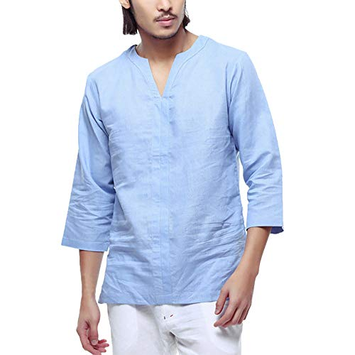 8804531294038c Mens Casual Loose Linen Cotton Shirt Fashion V Neck 3/4 Sleeve Collarless T-