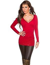 fashion boutik Pull Cache Coeur avec Strass Femme Sexy Tendance 771c854fd1ed
