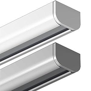 Garduna 120cm Gardinenschiene | silber | Aluminium | patentierte Befestigung | halbrunde Schleuderschiene
