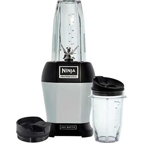 Ninja BL450EU Standmixer Smoothie Maker (mit Pro Extractor Klingen, Nutrition Mixer mit 2 to go Mixbechern (650ml, 500ml), auslaufsicheren Deckeln, Küchenmixer Zerkleinerer 900 Watt) silber/schwarz