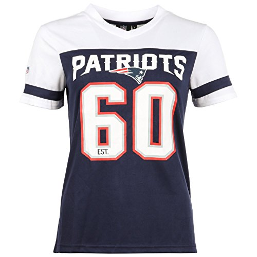 Majestic NFL Ladies Mesh Jersey Shirt - New England Patriots (Blaue Damen-team-logo-t-shirt)