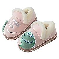 Gainow Winter Slippers Boys Girls House Shoes Kids Children Cartoon Dinosaur Warm Anti-Slip, Pink 22