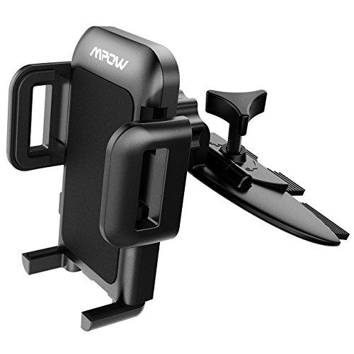 Mpow PAMCM3-V, Supporto cellulare universale da auto per CD slot con tre impugnature laterali, Girevole a 360 gradi, Nero