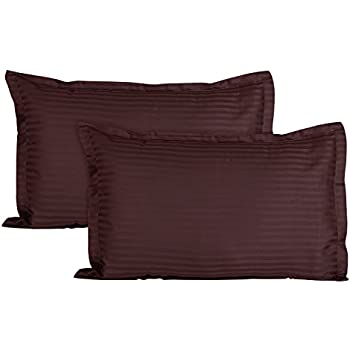 Ahmedabad Cotton Luxurious Sateen Striped Pillow Cover/Case Set (2 Pcs) 300 Thread Count - Chocolate Brown