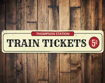 Personalisiertes Schild für Bahntickets, 5 Cent, personalisierbar, mit Familienname, Zugliebhaber, Höhle aus hochwertigem Aluminium