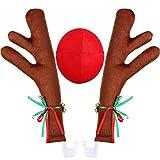 Auto Renne Palchi e Naso Finestra Tetto-Top e Renne Jingle Bell Natale Costume Accessori per Auto, Natale Auto Decorazioni Renna Kit, Vacanza Finestra di Auto Decorazione