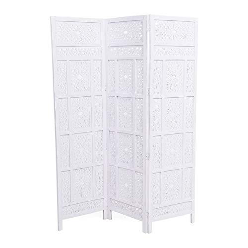 miaVILLA Paravent Orient - Raumtrenner - Orientalischer Look - Holz - Weiß