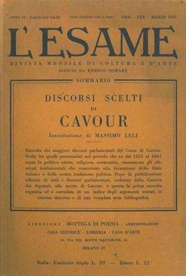 Discorsi scelti di Cavour.