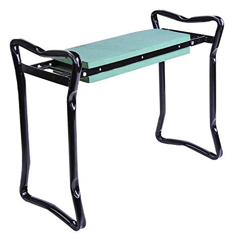 Outsunny Chaise Assis-Genoux avec roulement Jardin Pliant Mousse EVA Acier 58× 28× 49cm