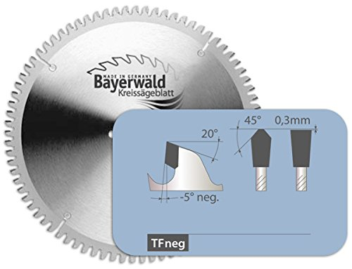 Bayerwald - HM Kreissägeblatt - Ø 205 mm x 3,2 mm x 18 mm | Trapezflachzahn negativ (64 Zähne) | Alukreissägeblatt für NE-Metall & Kunststoff