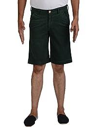 LOOKI Men's Stretchable Corduroy Shorts (Caps_114_Bottle Green _ 32)