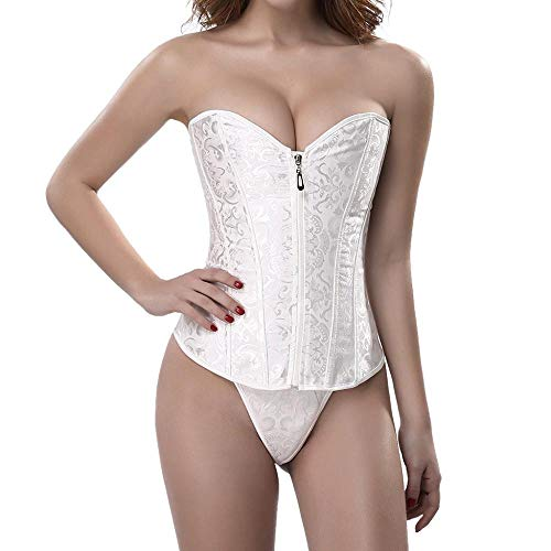 Kostüm Paket Kondom - YEBIRAL Damen Korsagen Bridal Wäsche Reißverschluss Oben Satin Stahl ohne Knochen Korsett Taillenmieder Shapewear mit G-Schnur Frauen Shaping Bodysuit(XL,Weiß)