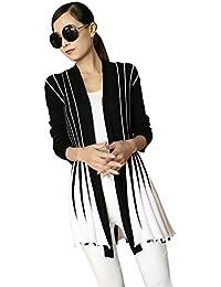LAEMILIA Veste Cardigan Femme Gilet Tricot Longues Manches Vintage Rayures Sweater Manteau