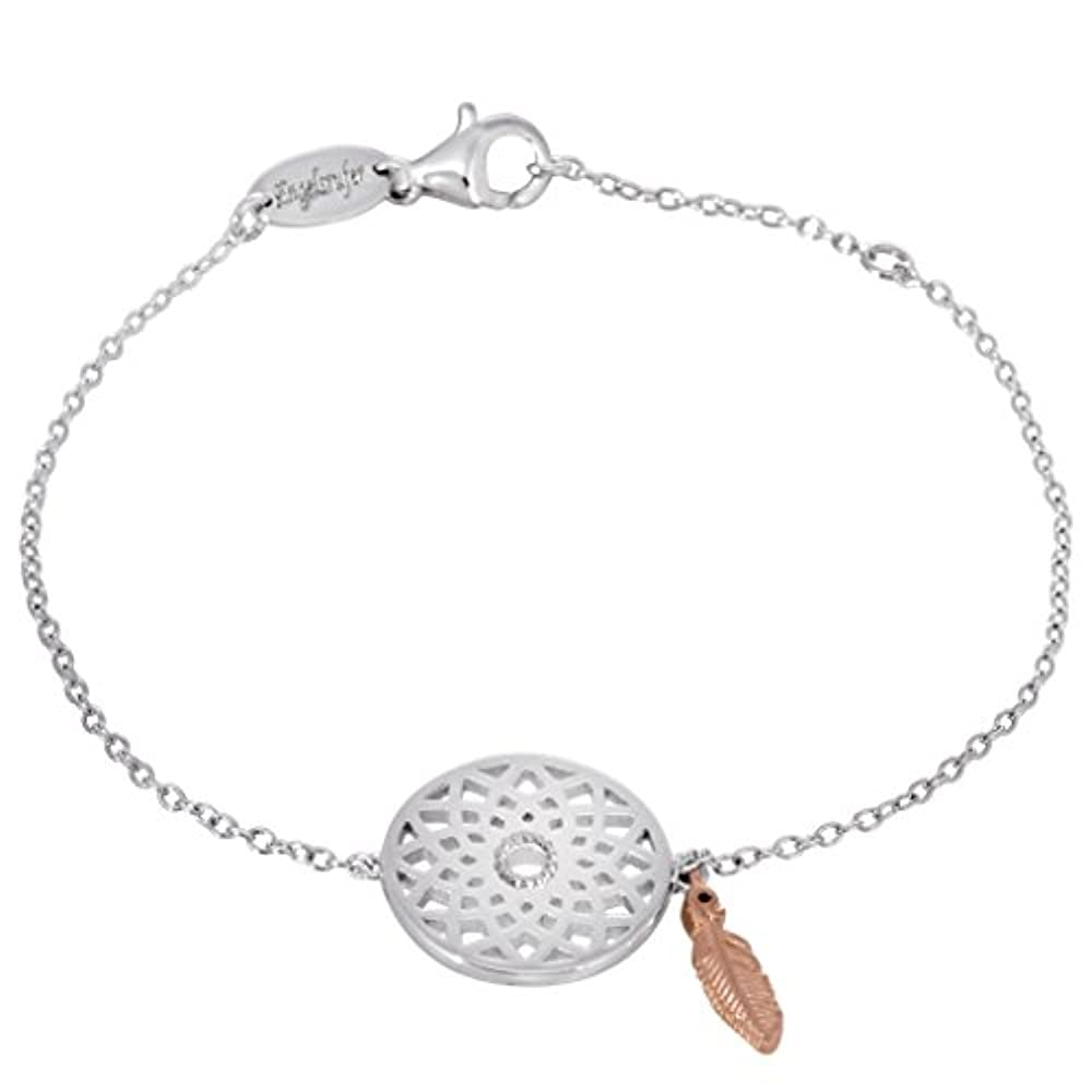 MATERIA Karabinerverschluss Schmuck Silber 925 antik Blume Armband Zubehör