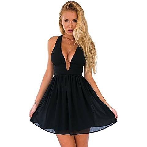 JXLOULAN Mini Beach chiffon donna pro-estate sottili cinghie del Halter Dress Nero