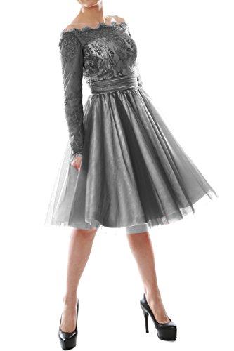 MACloth - Robe - Trapèze - Manches Longues - Femme Gris - Gris
