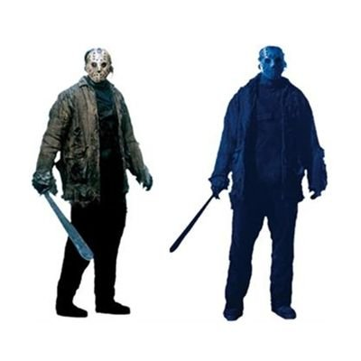 4 Wanddekorationen 85 x 165 cm (Jason X Halloween Kostüm)