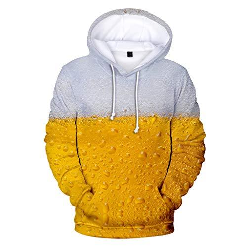 Herren Kapuzenpullover Bier 3D Druck Langarm Sweatshirt Mode Hoodie Mit Taschen Kapuzenjacke Cartoon Druck Sweatshirt Unisex -
