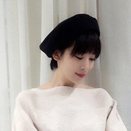 GEMVIE Chapeau Bonnet Béret Femme Fille Vintage Automne Hiver Casual Artiste Hat Noir