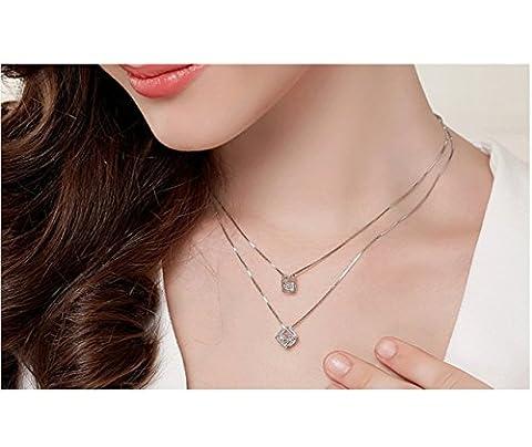 RAN 925 Silberner Doppelter Halsketten-Dame Kurzer Punkt-magischer Hängendes Geliebtgeschenk
