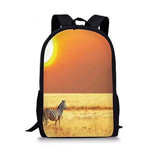 School Bags Safari Decor,Zebra at Sunset on The Grass African Mammal Culture Icon Tropical Lands Photo,Yellow Orange Black for Boys&Girls Mens Sport Daypack Womens Zebra Pony