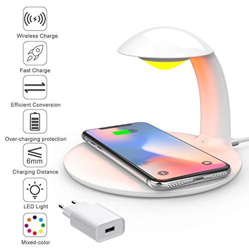 AURSEN Chargeur sans Fil Rapide avec Lampe de Chevet LED Touch Portable, Chargeur à Induction 10W/7,5W pour Samsung S6 S7 S6+ S7+ S8 S9 S8+ S9+ S10 S10+, iPhone X XS MAX XR (avec adaptateur QC 3.0)