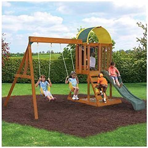 Ready to Assemble Wooden Swing Set. Cedar Wood Swingset, Climbing Wall and Sand Box. Wood Swing Set SALE !!!! 2 Swings, Chalk Wall and More. Heavy Duty Wooden Swing Set includes 10YR Warranty. by Cedar Summit Premium Play