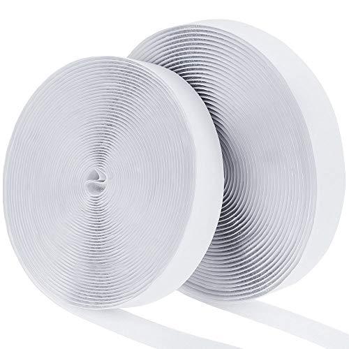 Faburo Hook y Loop Bandas Autoadhesivo, de vuelta Auto adhesivo cinta rollo, Cinta de Gancho y Bucle, blanco, 8M