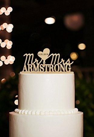 Herr und Frau Cake Toppers personalisierbar Hochzeit Kuchen Topper Custom Hochzeit Datum Kuchen Topper Jahrestag Kuchen Topper
