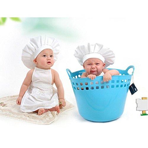 cute baby Koch Kostüm Foto Requisiten weiß Säugling Hut (Kostüme Schürze Koch)