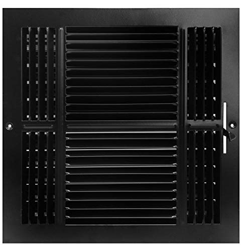 20,3x 20,3cm 4-Wege-Air Supply Gitter-Duct Cover & haltesystems-flach Prägung Face-Schwarz (Duct Cover Wand-vent)