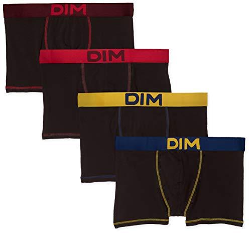 Dim Boxer Mix and Colors X4, Homme, Multicolore Jaune Safran Bleu Marin Rouge Baie/Noir CT Aubergine Foncé 88r, Large (Taille Fabricant:4) (Lot de 4)