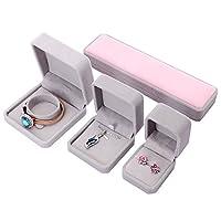 JIGAN Jewelry Box, Faux Velvet Jewellery Ring Necklace Bracelet Display Box Case 4Pcs Set