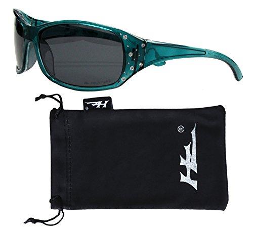 Hornz HZ Series Elettra - Polarisierte Damen-Sonnenbrille Tropical Teal Frame - Dunkle Rauchlinse