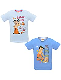 Luke and Lilly Chhota Bheem Printed Round Neck Cotton T-Shirt for Baby Boys Pack of 2