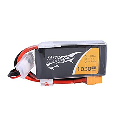 TATTU 14.8V 4S LiPo Battery Pack 1050mAh 75C with XT60 Plug for RC Boat Heli Airplane UAV Drone FPV