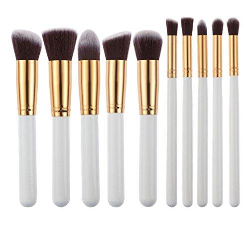 Set de 10pcs Pinceaux de Maquillage pour Fond de Teint Fard à Paupières Eye-liner - Blanc et Doré