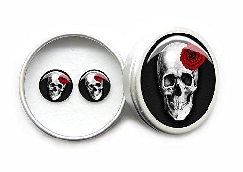 Ohrringe Damen Ohrstecker 925 Sterling Silber Gotik Schwarzer Schädel Rote Rose Geschenk Box