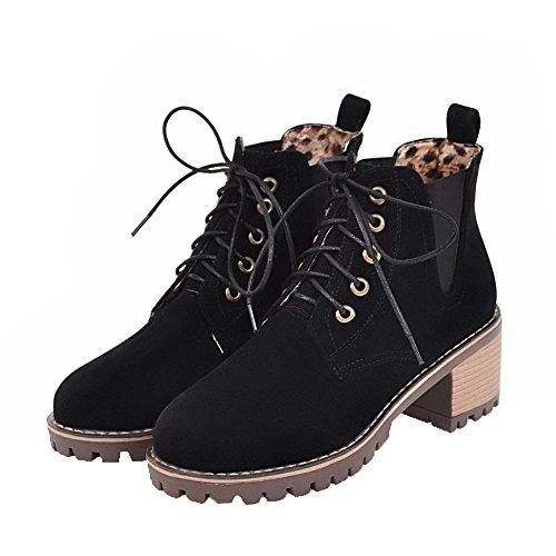 716776b8df669 Femme Ageemi À Gros Bottes Noir Bas Rond Élastique Talon Shoes Lacet  T5wSqpxa4