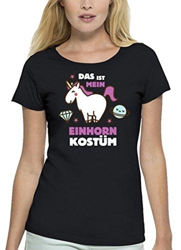 (Fasching Karneval Premium Damen T-Shirt Bio Baumwolle Das ist Mein Einhorn Kostüm 2 Stanley Stella, Größe: XL,Black)