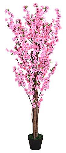 Decovego Pfirsichbaum mit Blüten Kunstpflanze Kunstbaum Künstliche Pflanze mit Echtholz 160cm