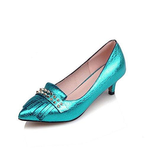AllhqFashion Damen Ziehen Auf Spitz Zehe Mittler Absatz Eingelegt Pumps Schuhe Blau